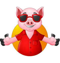 Cartoon happy pig with sunglasses vector