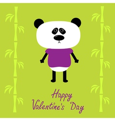 Cartoon panda boy and bamboo Happy Valentines Day vector