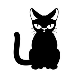 Cat black isolated pet on white background vector