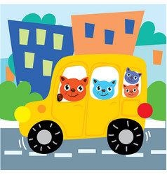 cat friends ride car on city road vector image