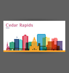 Cedar rapids colorful architecture vector