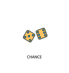 Chance concept 2 colored line icon simple yellow vector