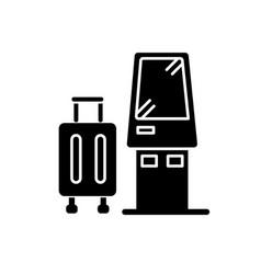 Check in kiosk flat design long shadow glyph icon vector
