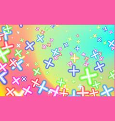 Childish mottled multicolored plusses background vector
