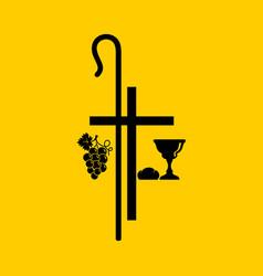 Christian symbols communion bowl with wine bread vector