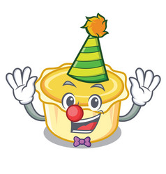 Clown egg tart mascot cartoon vector