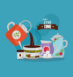 Coffee maker pouring cup and sugar spoon set vector