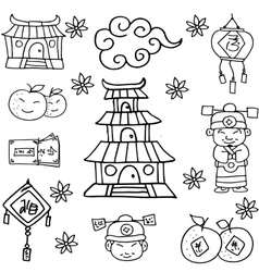 collection chinese hand draw doodles vector image