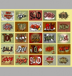 Comic book stile stickers vector