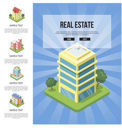 Commercial real estate in town banner vector
