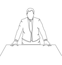 Continuous one line businessman in suit vector