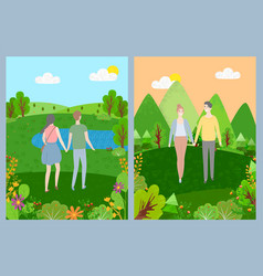 couple walking in park green nature love vector image