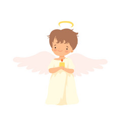 Cute boy angel with nimbus and wings standing with vector