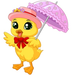 Cute cartoon duck with pink umbrella vector image