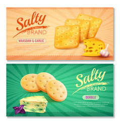 Delicious salty snacks banners vector
