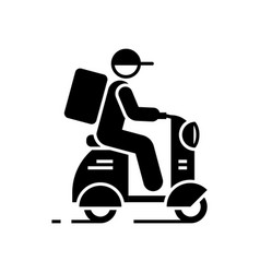delivery man on scooter black icon on white vector image