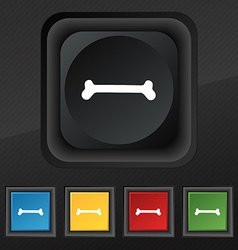 Dog bone icon symbol Set of five colorful stylish vector