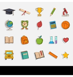 Doodle school icons set vector