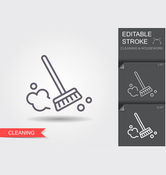 dust brush line icon with editable stroke with vector image