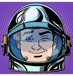 Emoticon wink emoji face man astronaut retro vector