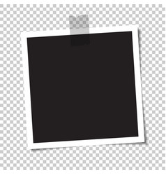 empty photo with a shadow is glued with tape vector image