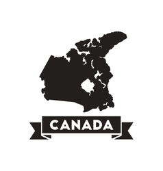 Flat icon in black and white Canada map vector