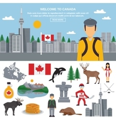 Flat icon set of Canada vector