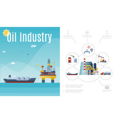 flat oil industry composition vector image