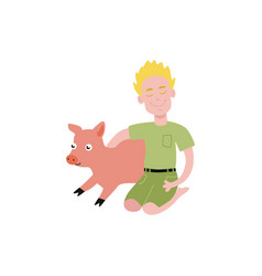 flat teen boy hugging pig domestic pet vector image