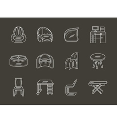 Flat white line icon for room interior vector