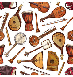 Folk musical instruments seamless pattern vector
