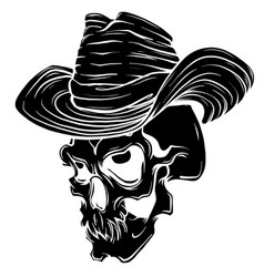 Gangster skull tattoo death head with cigar and vector