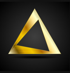 Golden triangle logo element on black background vector
