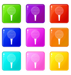 Golf ball on a tee icons 9 set vector
