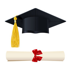 Graduate cap with a diploma in the scroll vector