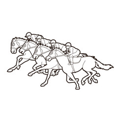 Group jockeys riding horse sport vector
