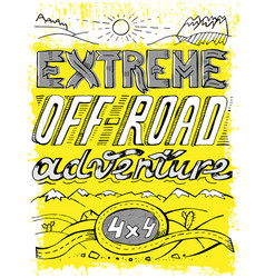 Hand drawn offroad poster vector
