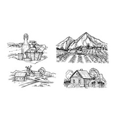Handdrawn scetch of rustic landscape vector