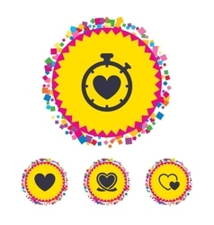 Heart ribbon icon Timer stopwatch symbol vector