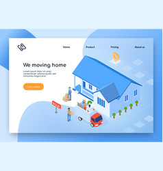 Home moving company isometric website vector