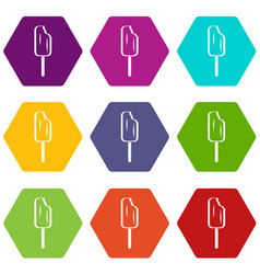ice cream icon set color hexahedron vector image