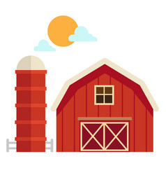 Isolated barn house on white background vector