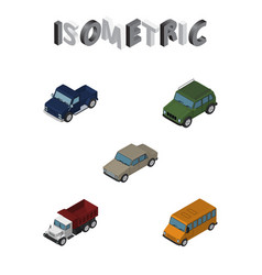 Isometric transport set of autobus auto freight vector
