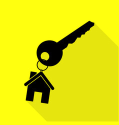 key with keychain as an house sign black icon vector image