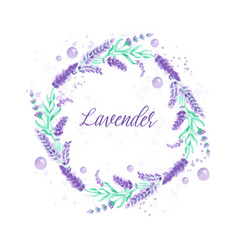 lavender wreath watercolor imitation design with vector image