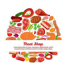 meat set with vegetablescartoon flat style vector image