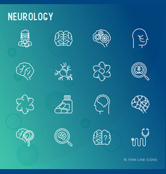 Neurology thin line icons set vector