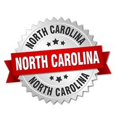 North Carolina round silver badge with red ribbon vector
