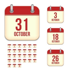 October calendar icons vector image