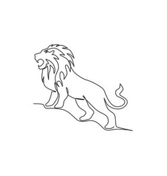 one single line drawing wild lion for company vector image